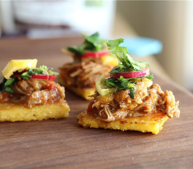 Crispy Polenta Bites with Braised Pork & Citrus