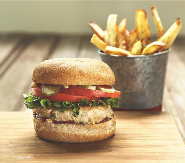 Turkey Burgers With Oven Baked Herb Fries