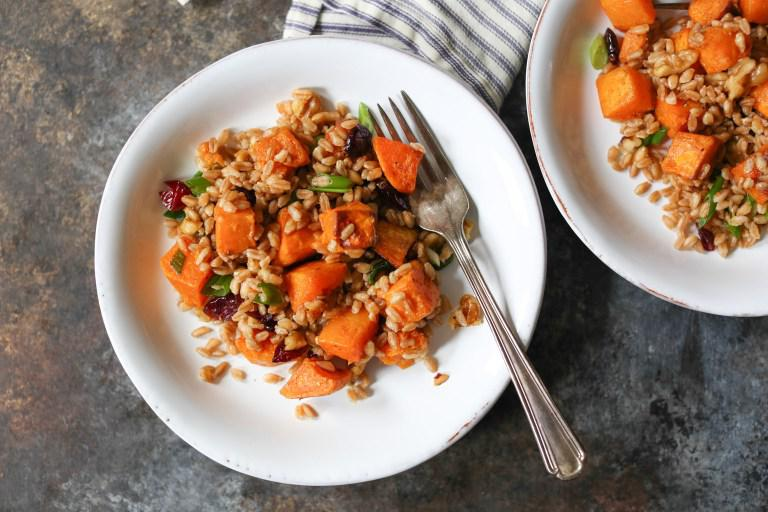 fall farro salad with butternut squash walnuts and cranberries