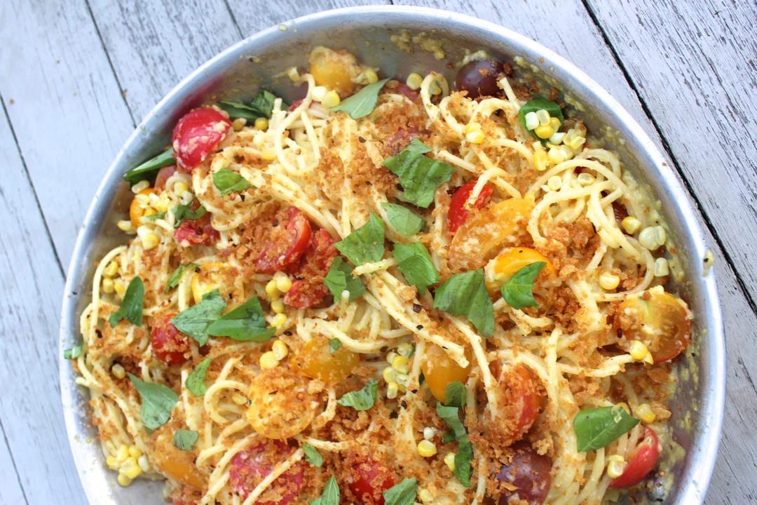 Spaghetti With Sweet Corn Pesto